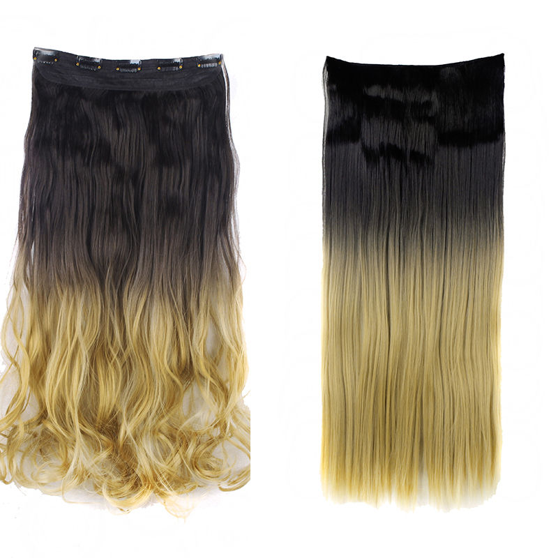 24 26 30 Inch Full Head Curly Straight 5 Clips Synthetic Clip In