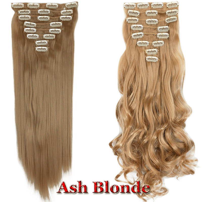 8 Piece Full Head Clip In Hair Extensions Curly Straight 100 Remy