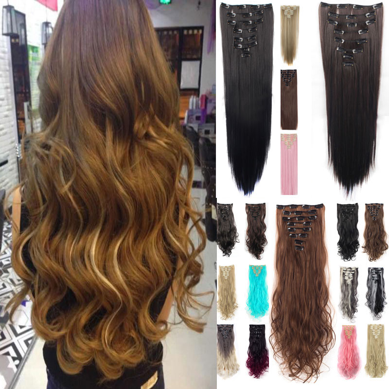 uk women full ombre clip in hair extensions 8 pieces full head thick ... 889b1ea730