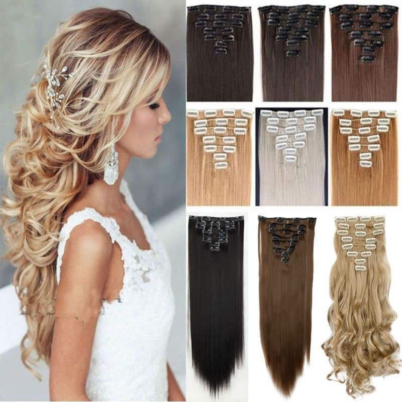 100 Thick One Piece Half Head Clip In Hair Extensions Long Curly