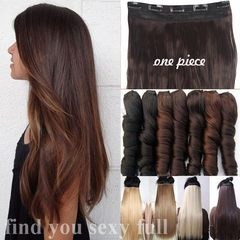 Thick Clip In Hair Extensions One Piece Full Head Wavy Straight Uk