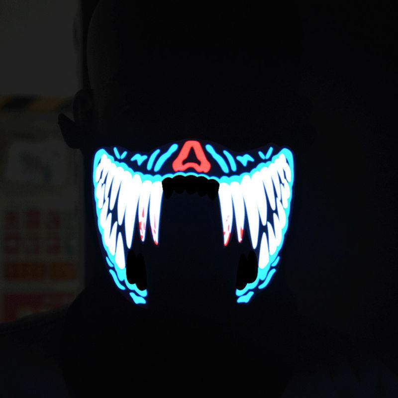 LED Mask Rave DJ Dance Light Party Luminous Flashing Half Face Light Up UK