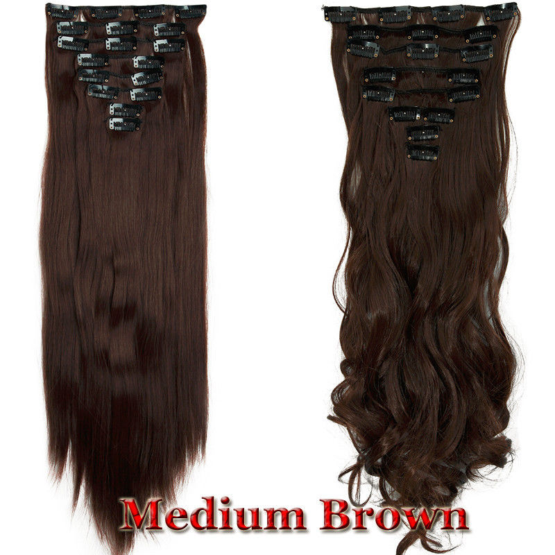 Real As Human Hair Long 8pcs Clip In Hair Extensions Full Head Wavy