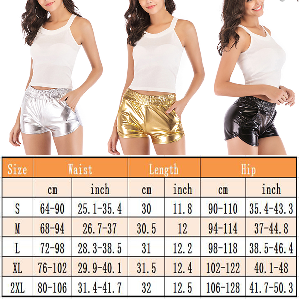 Women Shiny Metallic Short Pants Sports Hot Pants Gym Workout Yoga Shorts Club