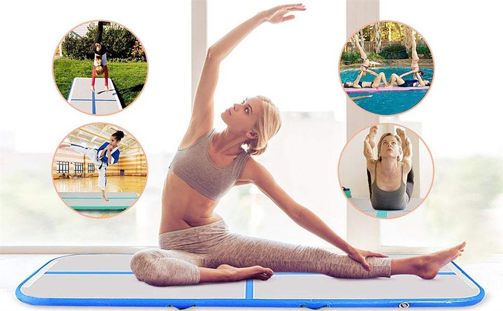 Inflatable-Gymnastics-mat-Exercise-Mats-Crash-Floor-Thick-Tumbling-Yoga-Home-Gym miniature 2
