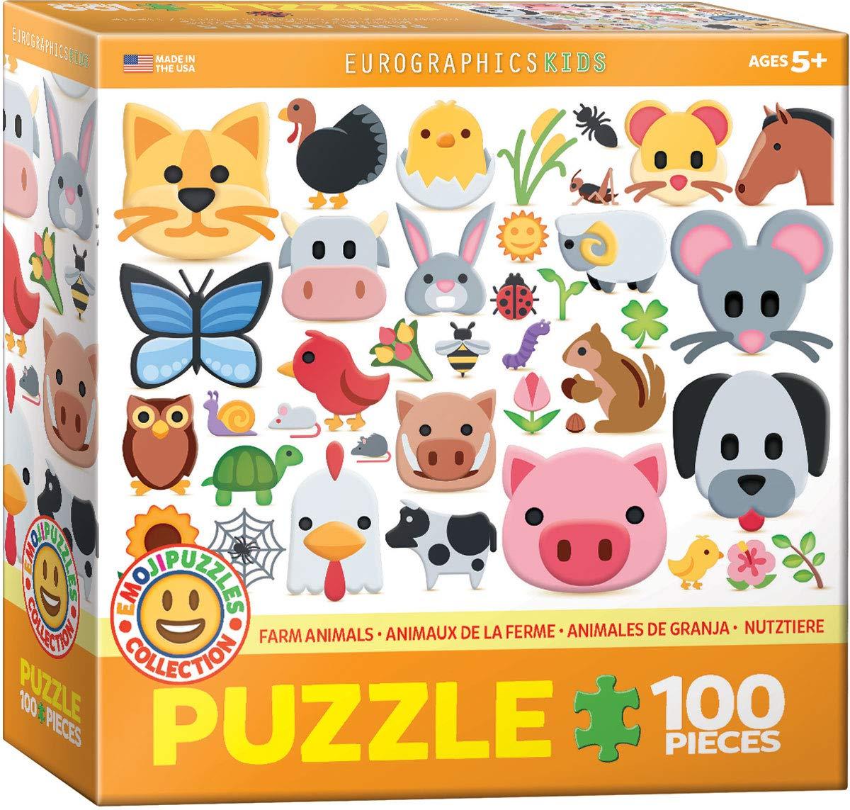 EuroGraphics Wildlife Animals Emoji Puzzle Jigsaw Puzzle 100-Piece