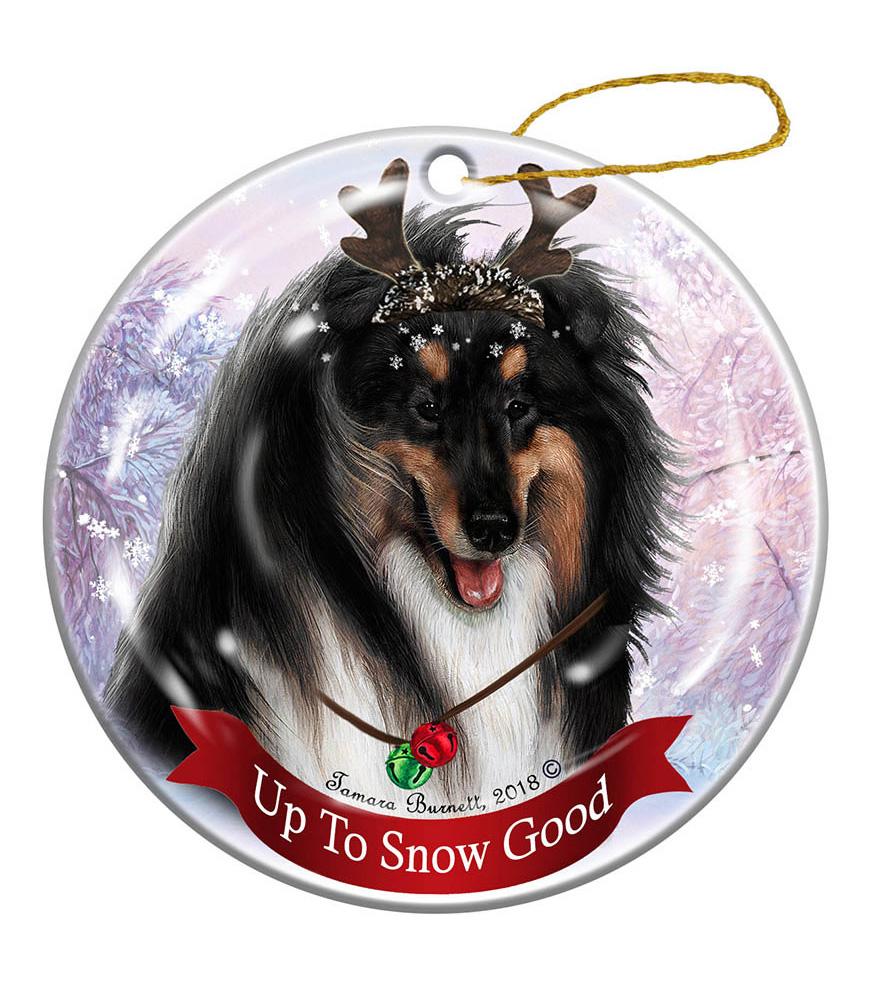 Border Collie Dog Christmas Holiday Ornament Up To Snow Good