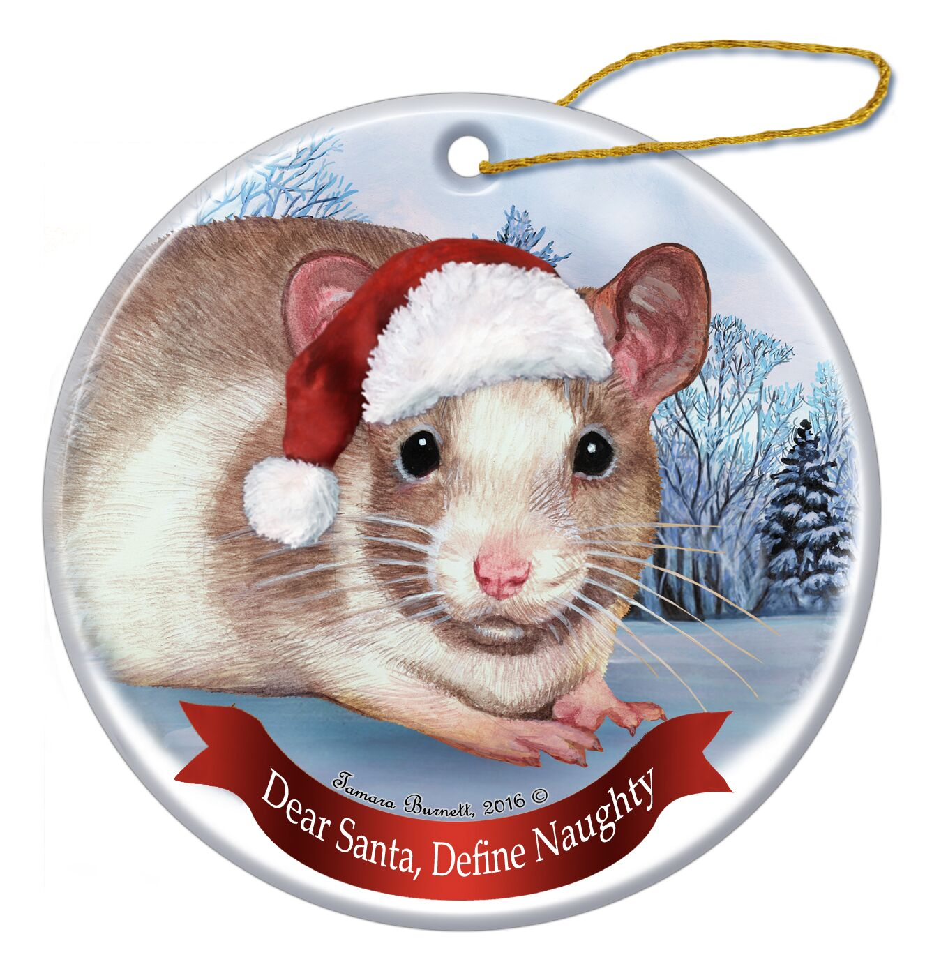 Holiday Pet Gifts Fawn and White Rat Santa Hat Porcelain Christmas ...