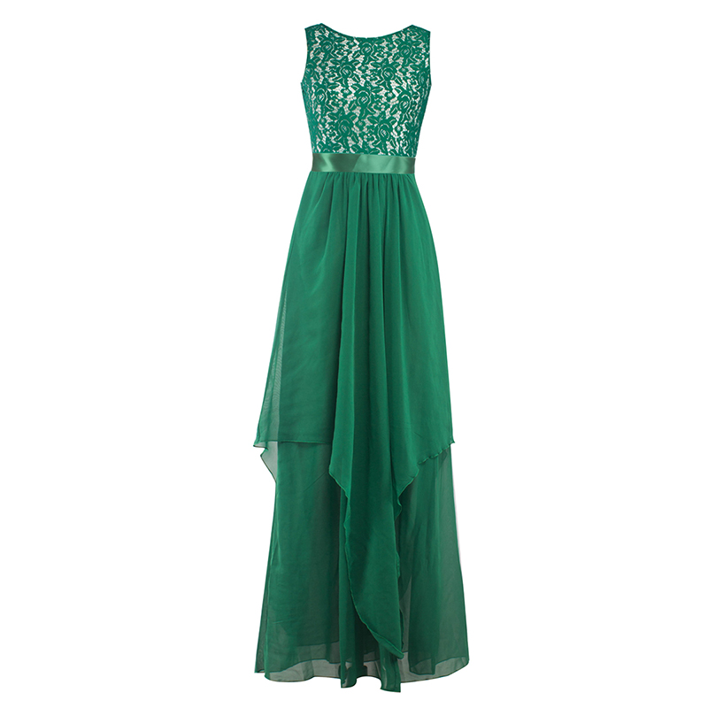 Lady-Long-Chiffon-Lace-Evening-Formal-Party-Ball-Gown-Prom-Bridesmaid-Maxi-Dress