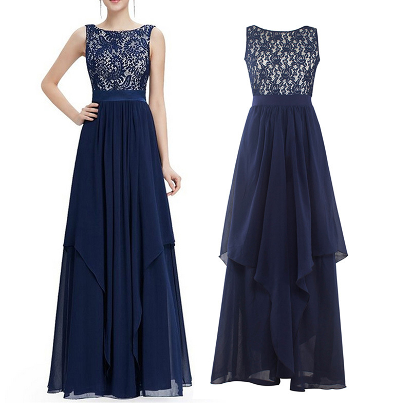 Lady-Long-Maxi-Chiffon-Lace-Evening-Formal-Party-Prom-Ball-Gown-Bridesmaid-Dress