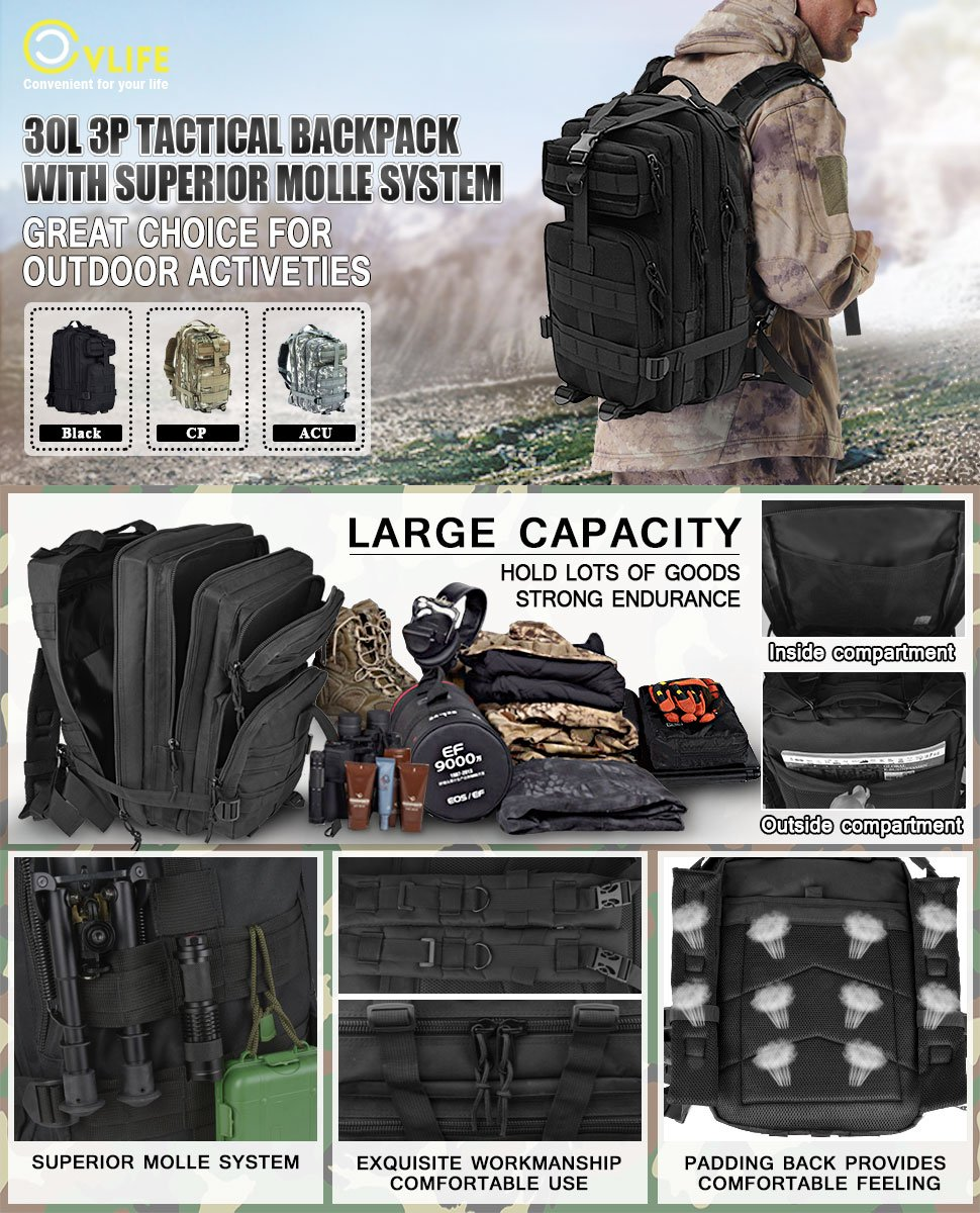 ce151f4493 Outdoor Tactical Backpack Military Rucksacks for Camping Hiking and  Trekking Waterproof 30L