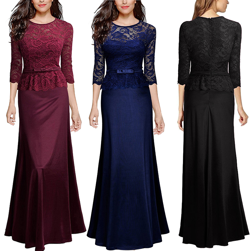 Women Long Maxi Lace Dress Evening Cocktail Formal Party Prom Bridesmaid  Ball Gown f65f78f3b