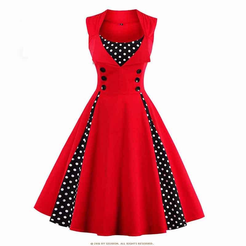 Vintage Women Polka Dots Swing Rockabilly Dress Evening Party Dress