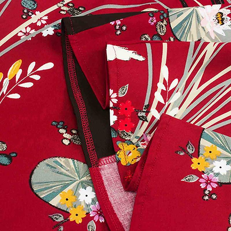 Vintage-Style-Skirt-Women-Retro-Swing-Flare-Floral-Printed-High-Waist-Midi-Dress