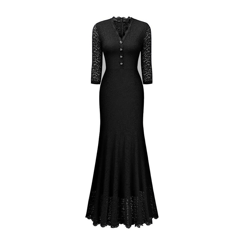 Women-Maxi-Fishtail-Dress-Lace-Long-Formal-Cocktail-Evening-Party-Wedding-Prom