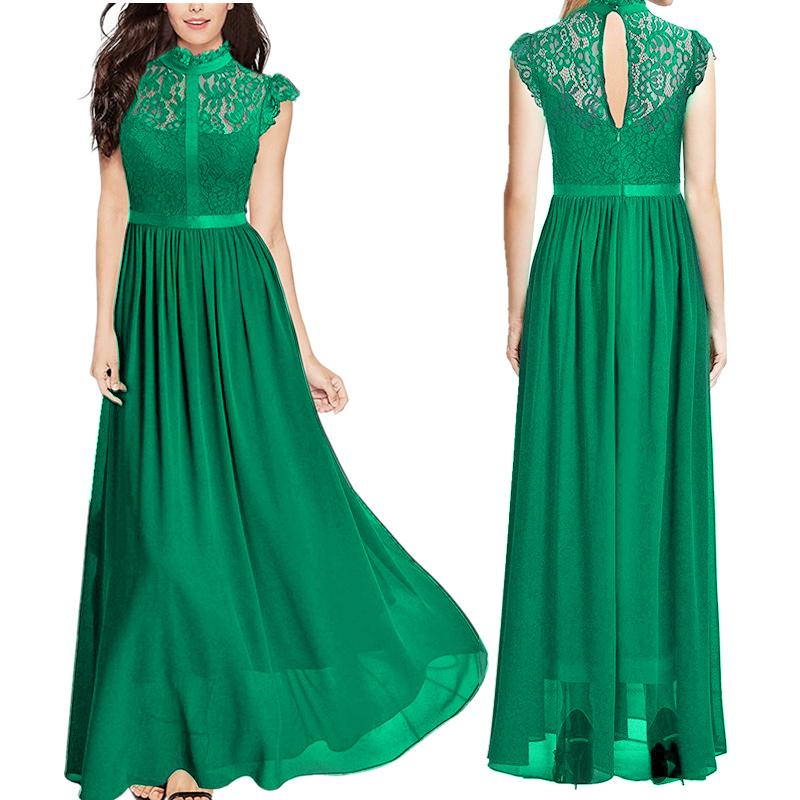 Women Chiffon Lace Dress Ladies Bridesmaid Evening Formal Party Maxi ...