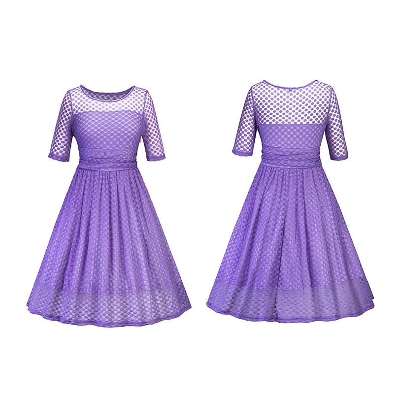 Vestido de Encaje mujeres Vintage Lunares Cuello Redondo Formal de ...