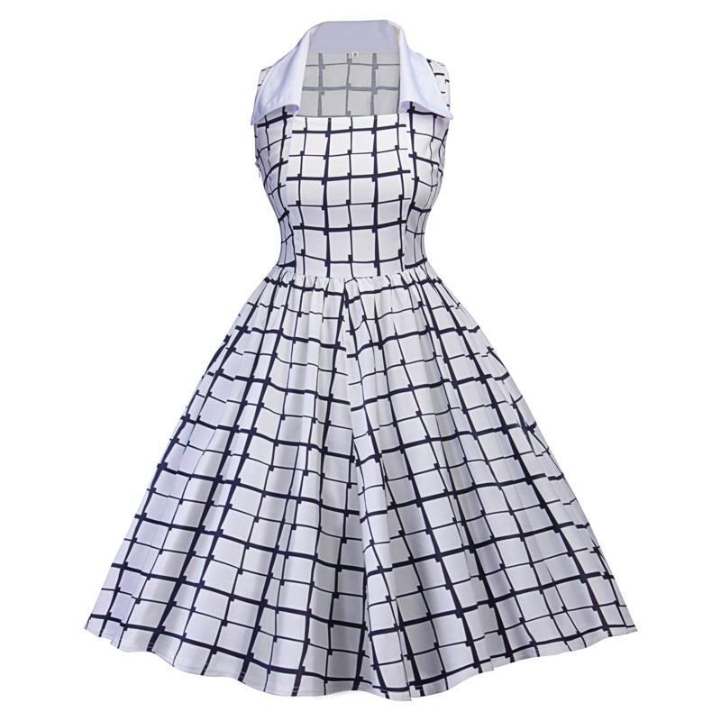 Women-50s-60s-Vintage-Pin-Up-Swing-Party-Rockabilly-Dress-Plaid-Square-Neck-Gown