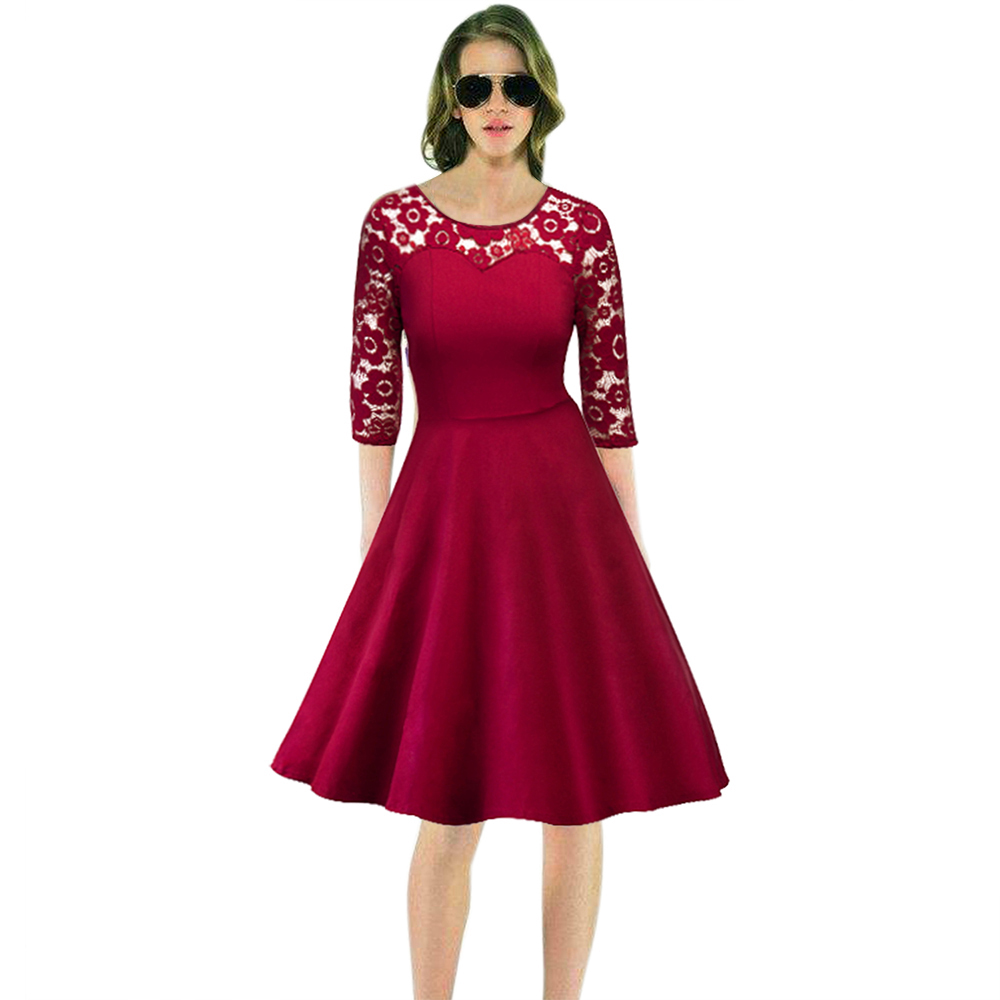 Women Celeb Maxi Midi Dress Vintage Swing Rockabilly Pinup Retro ...
