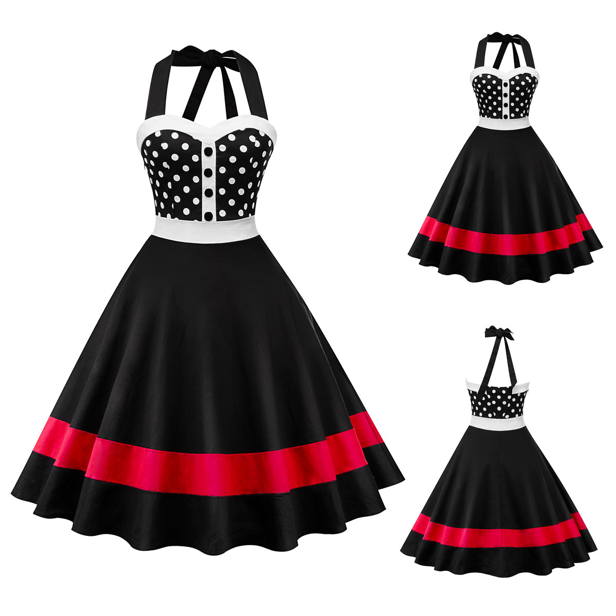 e62e50bb8f1f4 Details about Women Party Rockabilly Polka Dot 50s Swing Vintage Style  Pinup Halter Prom Dress