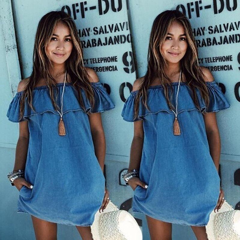 Details about Fashion Women Off Shoulder Jeans Ruffles T-shirt Casual Beach  Denim Mini Dress 8fae584ac0