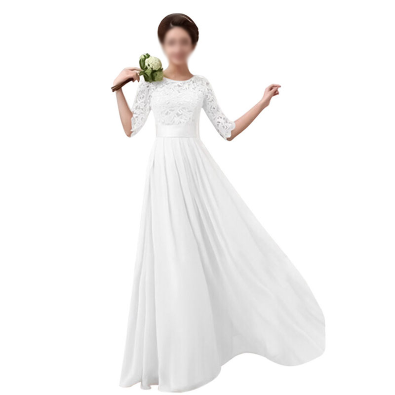 Womens Long Maxi Lace Evening Dress Formal Party Ball Gown Prom ...