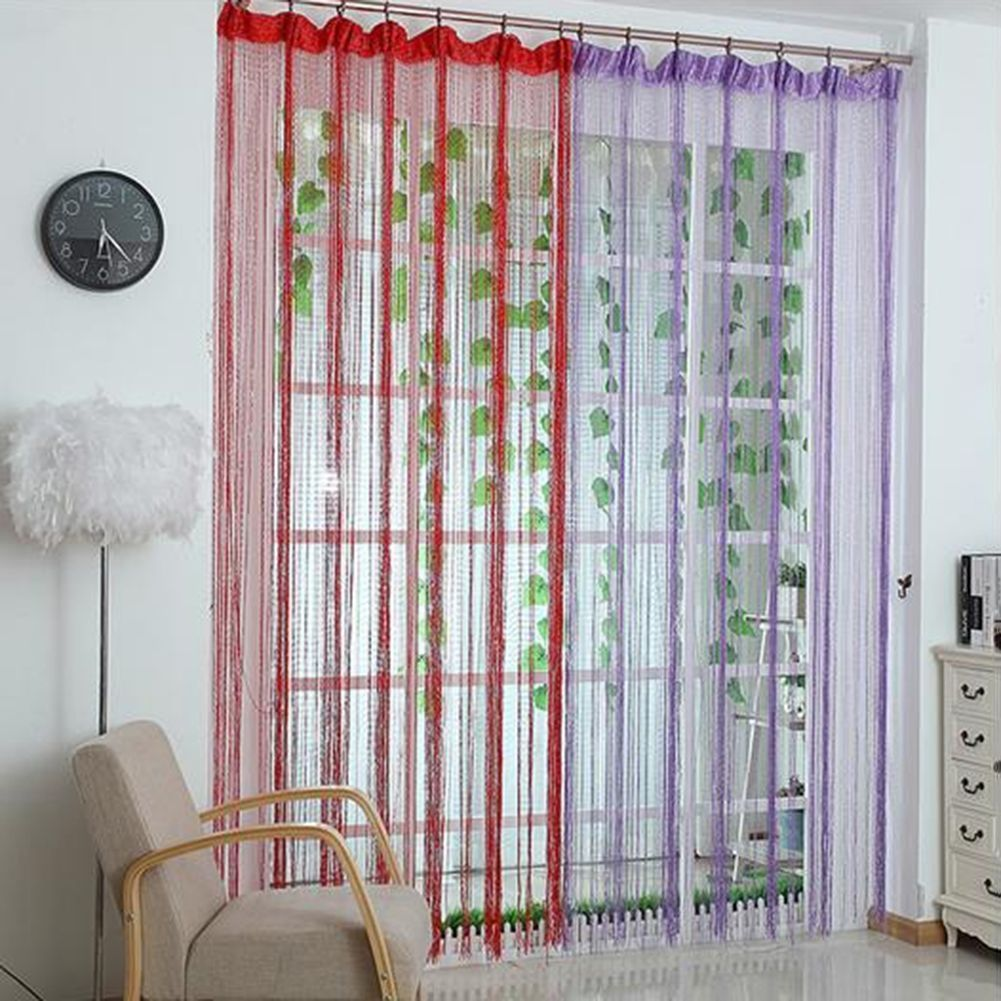 STRING DOOR CURTAIN Room Divider Window Panel Tassel Fringe Beads