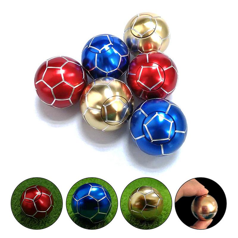Metal Football Fid Spinner Soccer Ball Hand Finger Toy Stress