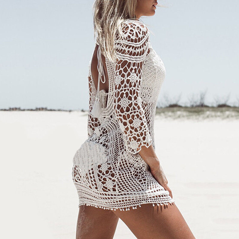 Women Beach Cover Up Dress Hollow Out Crochet Swimwear Backless