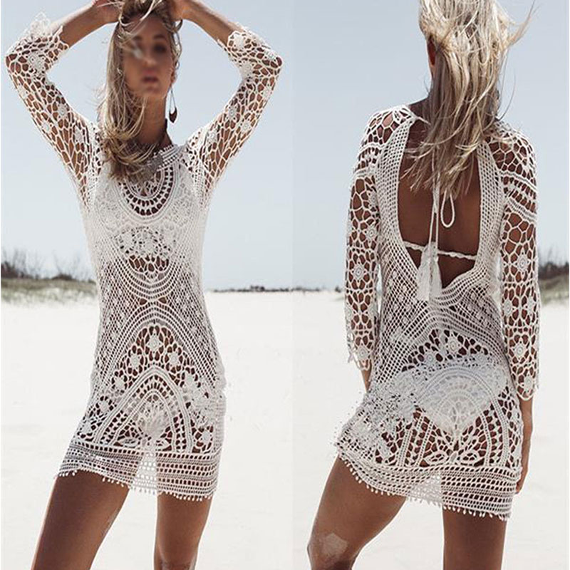 Women Beach Cover Up Bikini Hollow Out Backless Floral Lace Crochet