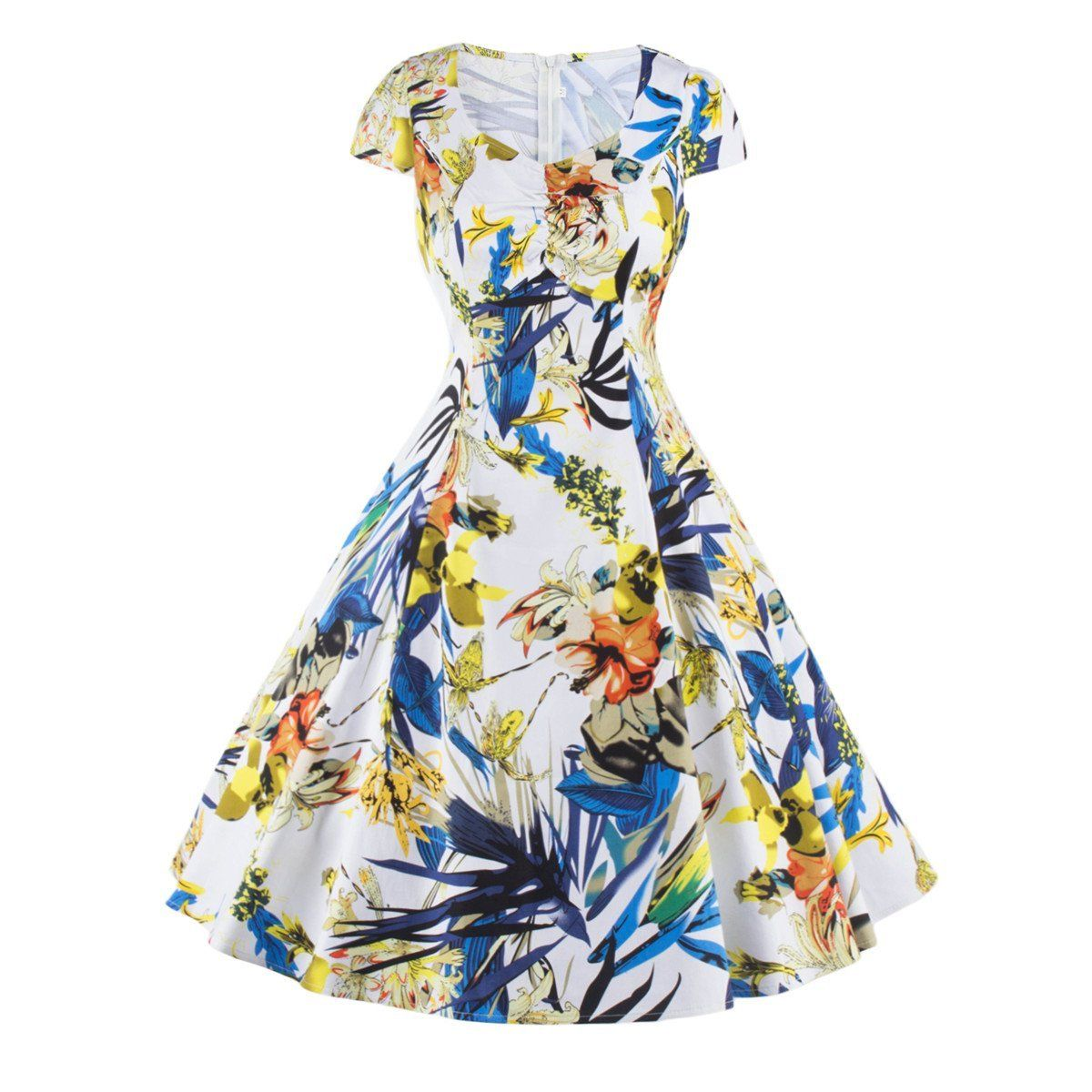Swing Dress Floral Printed Vintage Women Retro S Style Pinup ...