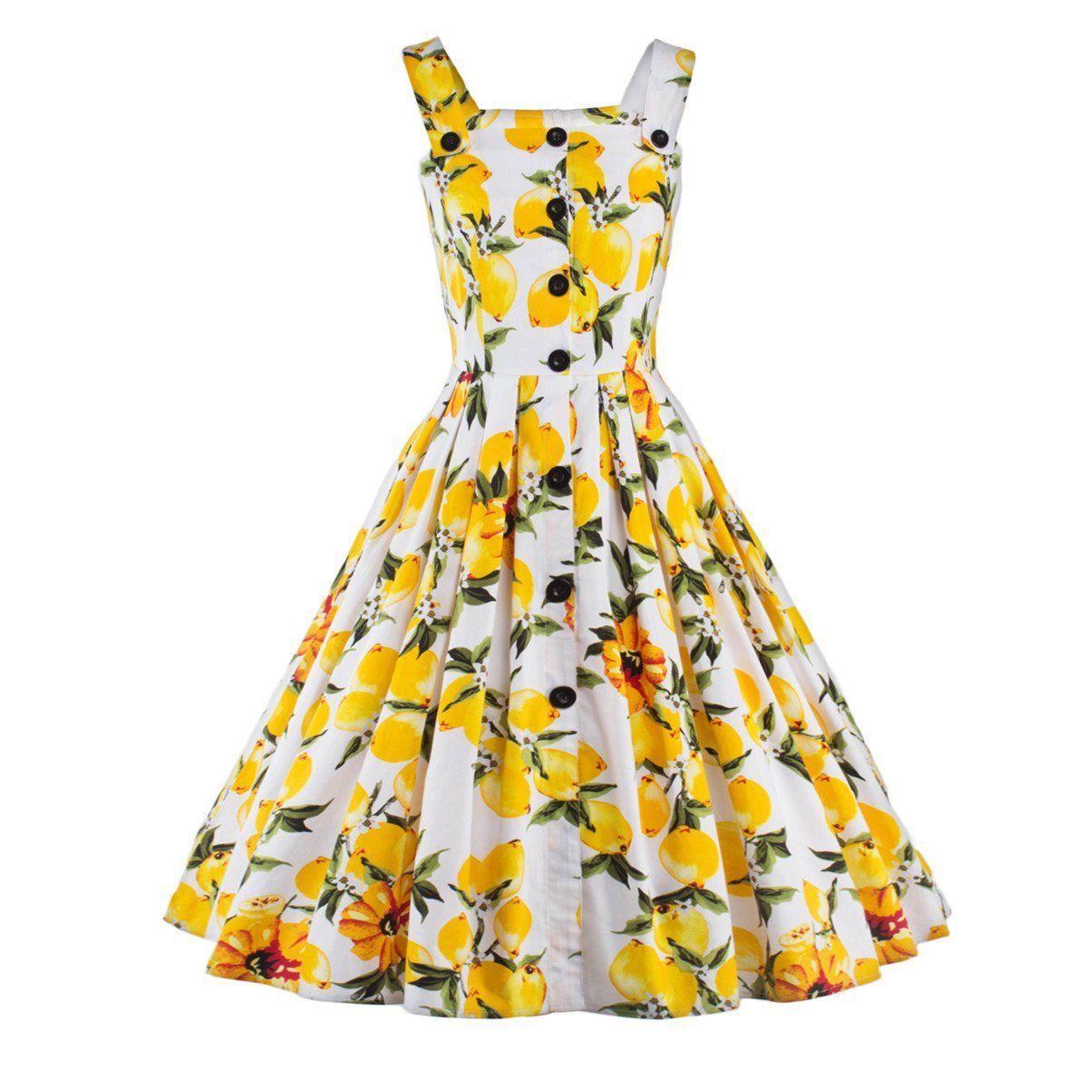 Women Vintage Lemon Printed Swing Pinup Retro Cocktail Rockabilly ...