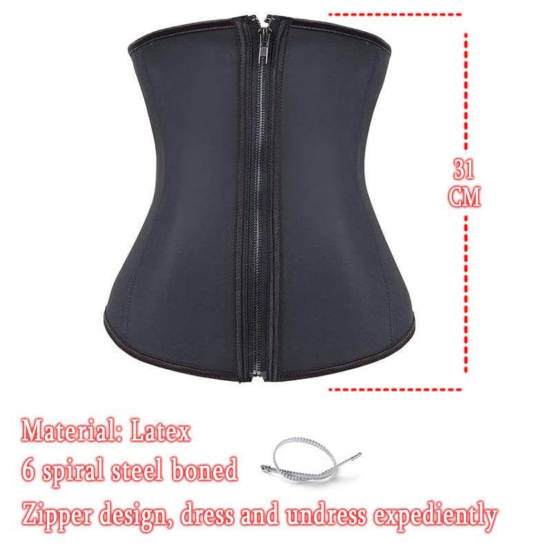 ad228733cc7 UK Women Waist Trainer Latex Belt Zipper Body Shaper Zip Corset ...