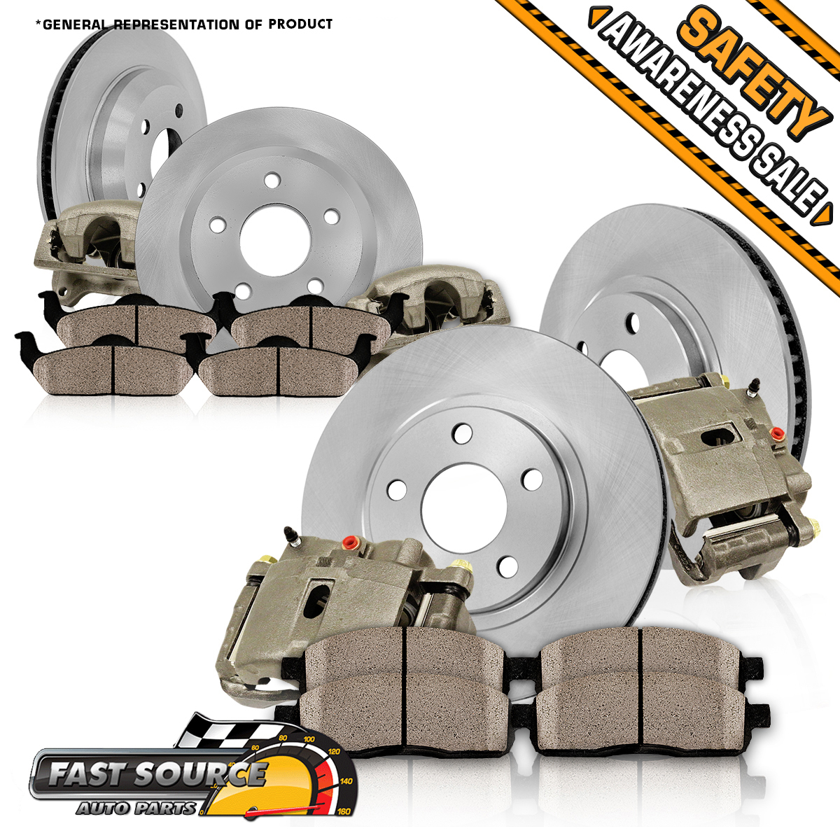 Rear OE Brake Calipers D//S Rotors /& Ceramic Pads For 2003-2007 Cadillac CTS