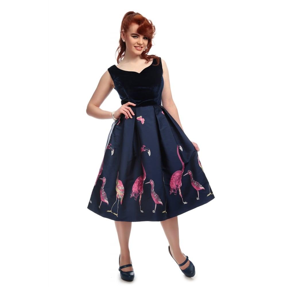 d2ea6e5246 Collectif Vintage Princess Liz Swing Dress Sz 8 - 22 1950s Flamingo ...