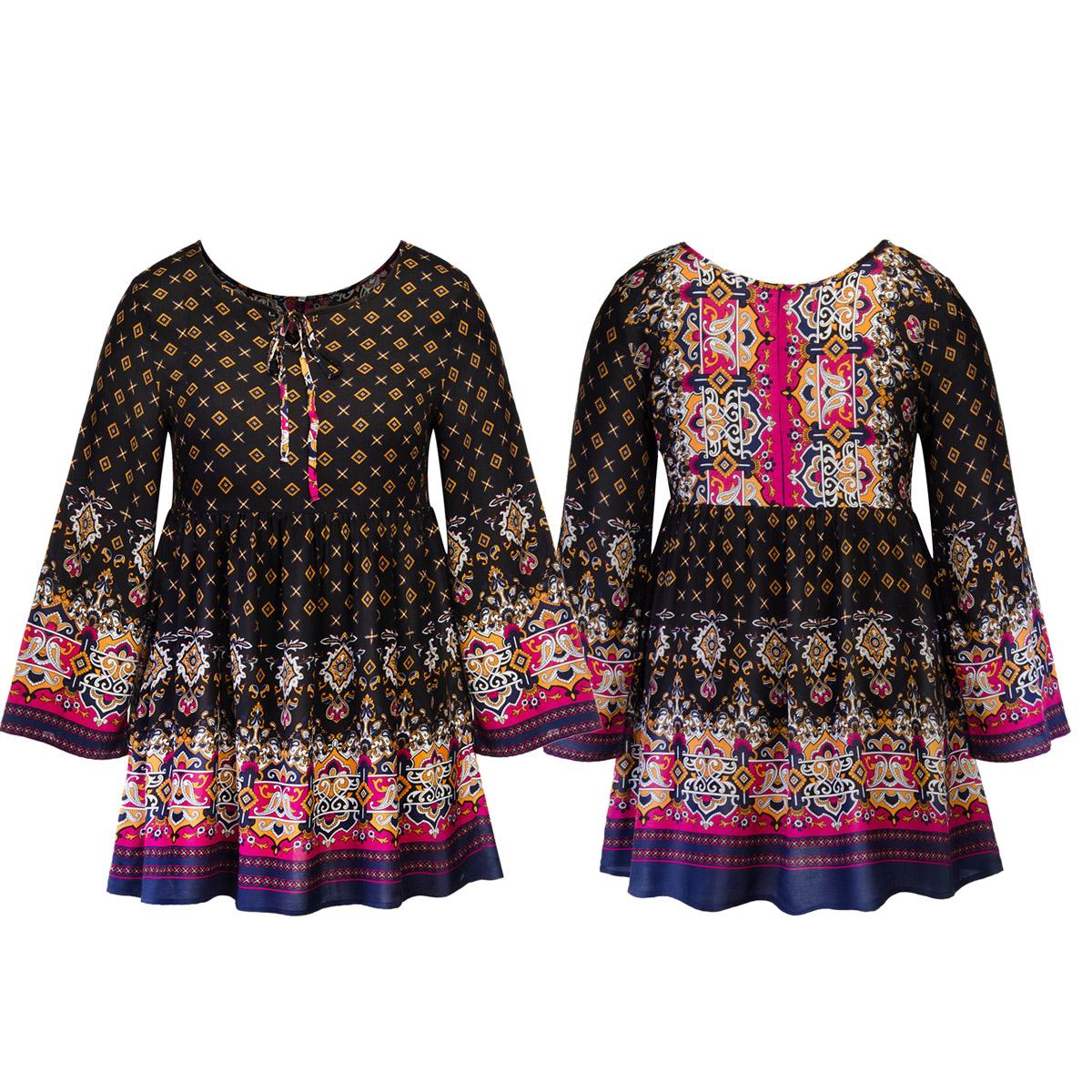 720517c17c4f Plus Size Women Long Sleeve Floral Print Boho Tunic Tops Party Short ...