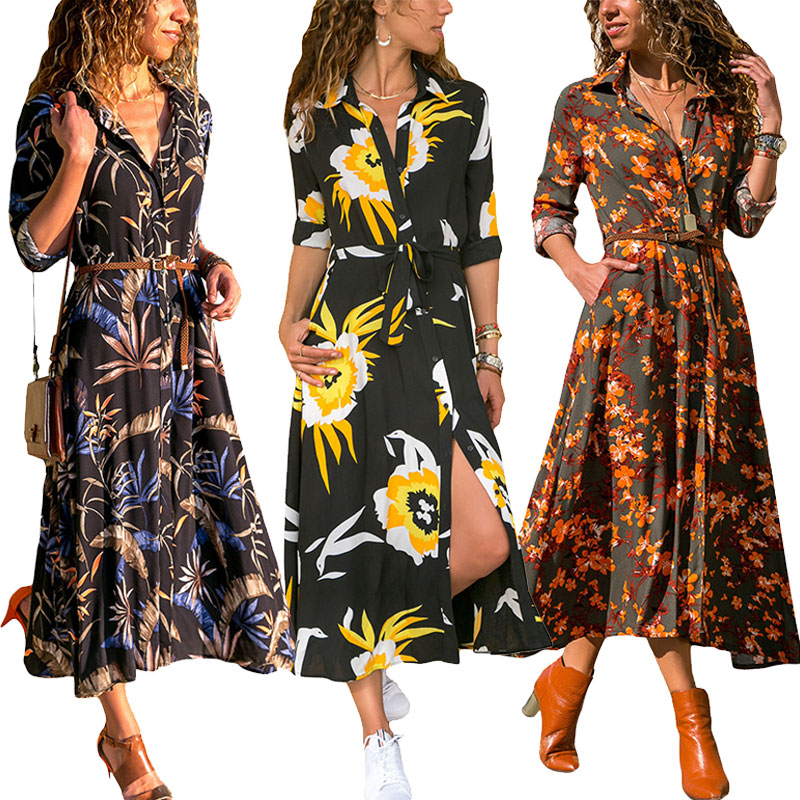 d681ff4c99339 Details about Women Long Sleeve Loose Floral Print Long Maxi Dress Lapel  Neck Button Shirts