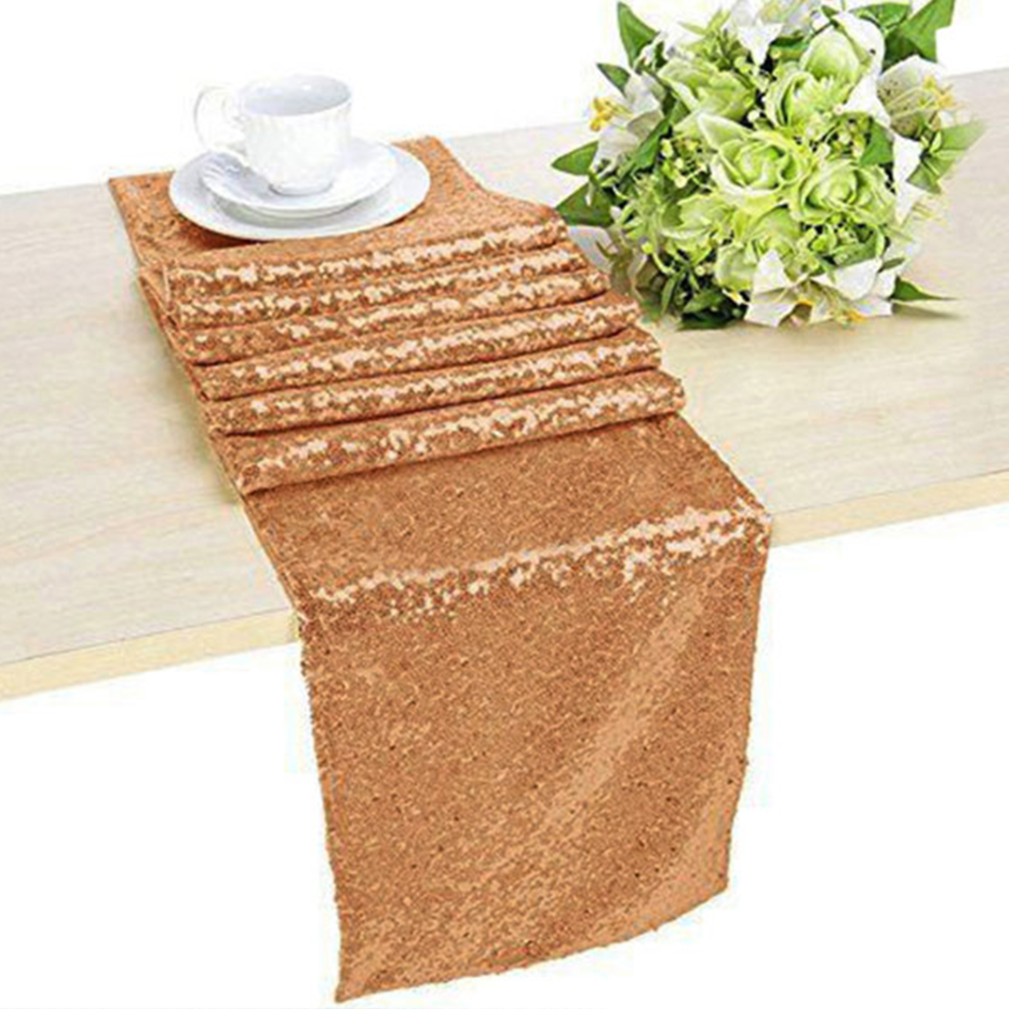 Glitter-Sequin-Table-Runners-Cloth-Rose-Gold-Silver-Sparkly-Wedding-Party-Decor thumbnail 9