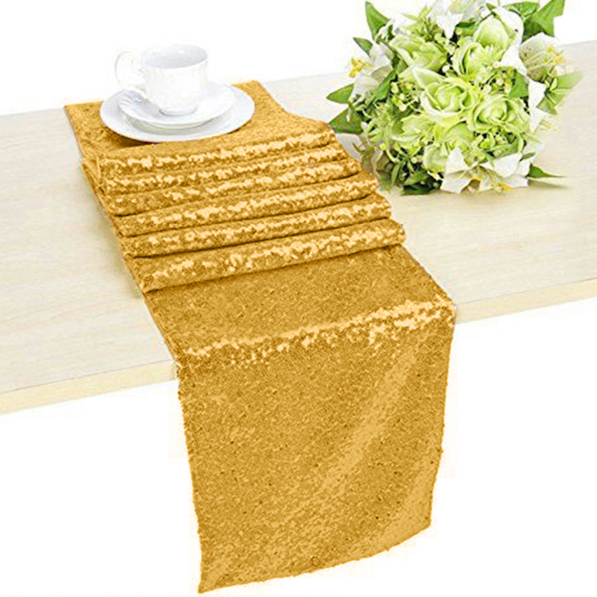 Glitter-Sequin-Table-Runners-Cloth-Rose-Gold-Silver-Sparkly-Wedding-Party-Decor thumbnail 13