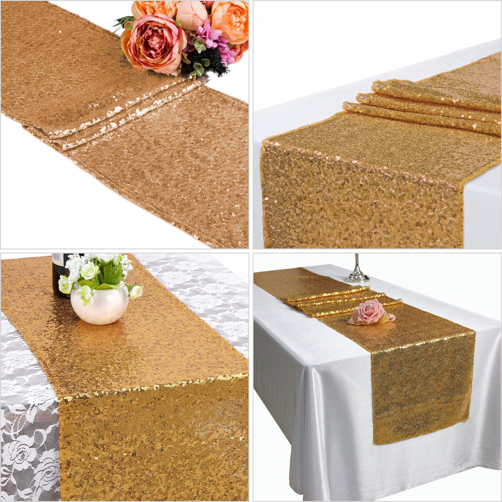 Glitter-Sequin-Table-Runners-Cloth-Rose-Gold-Silver-Sparkly-Wedding-Party-Decor thumbnail 14