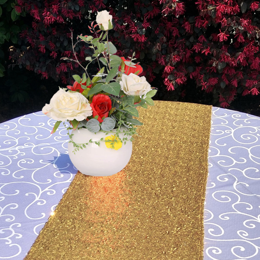 Glitter-Sequin-Table-Runners-Cloth-Rose-Gold-Silver-Sparkly-Wedding-Party-Decor thumbnail 15