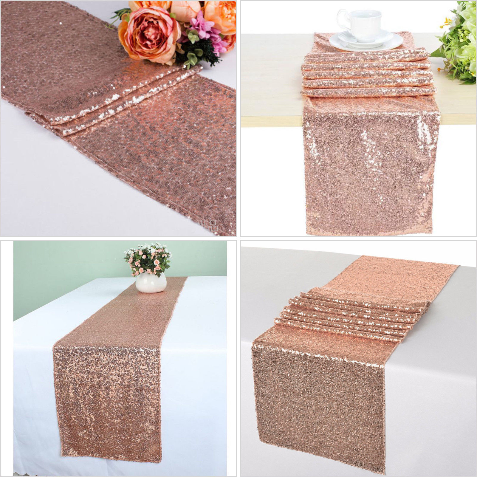 Glitter-Sequin-Table-Runners-Cloth-Rose-Gold-Silver-Sparkly-Wedding-Party-Decor thumbnail 18