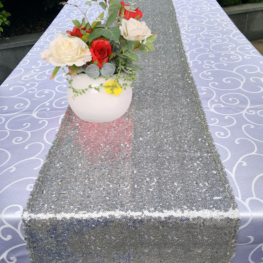 Glitter-Sequin-Table-Runners-Cloth-Rose-Gold-Silver-Sparkly-Wedding-Party-Decor thumbnail 21