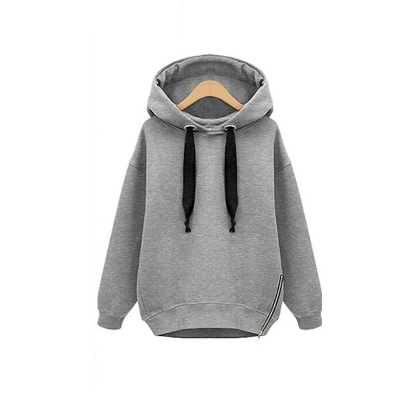 Ladies Long Sleeve Tops Zip Side Pullover Blouse Hooded Cotton Coat Sweatshirt