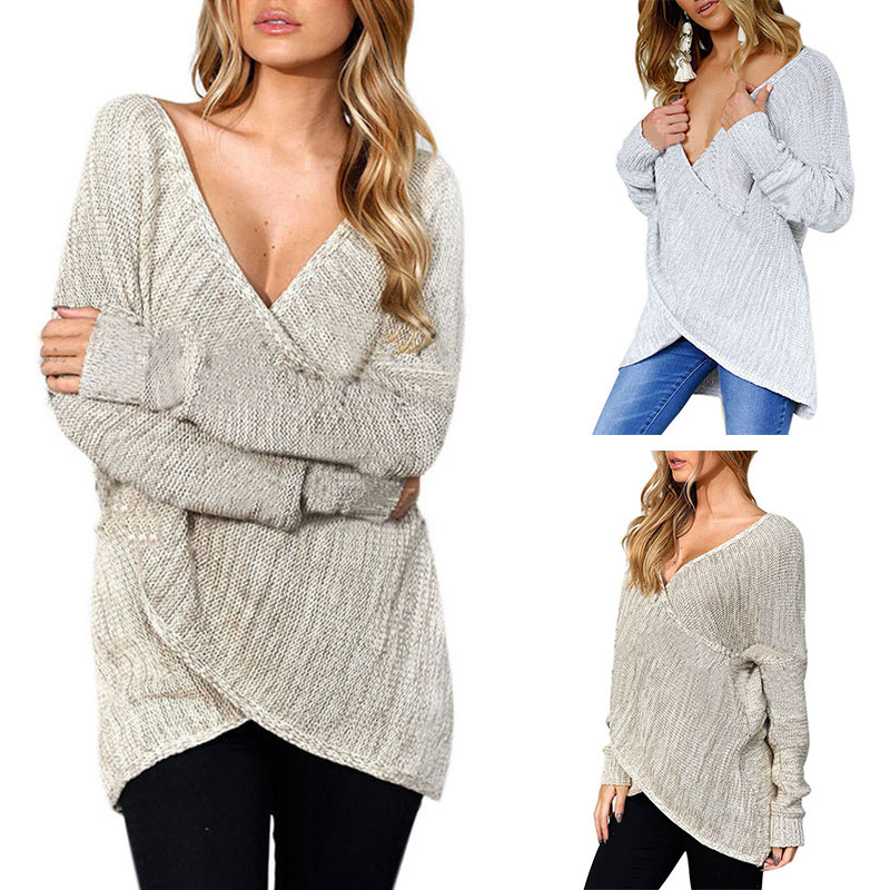 Women Casual Knitted Sweater Jumper Long Sleeve Pullover Baggy Knitwear V Neck  Cardigan Coat Outwear Loose Tops Blouse fa5015f49