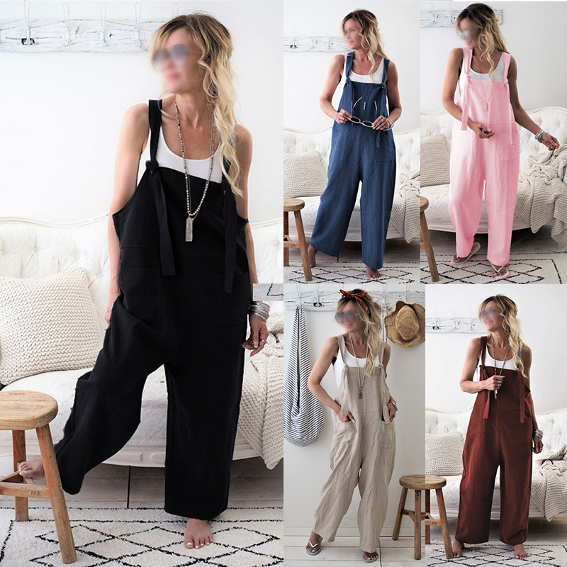 fb3a8742dab2 Women Loose Casual Jumpsuit Dungarees Playsuit Straps Overalls Trousers  Ladies Sleeveless Baggy Pockets Long Pants