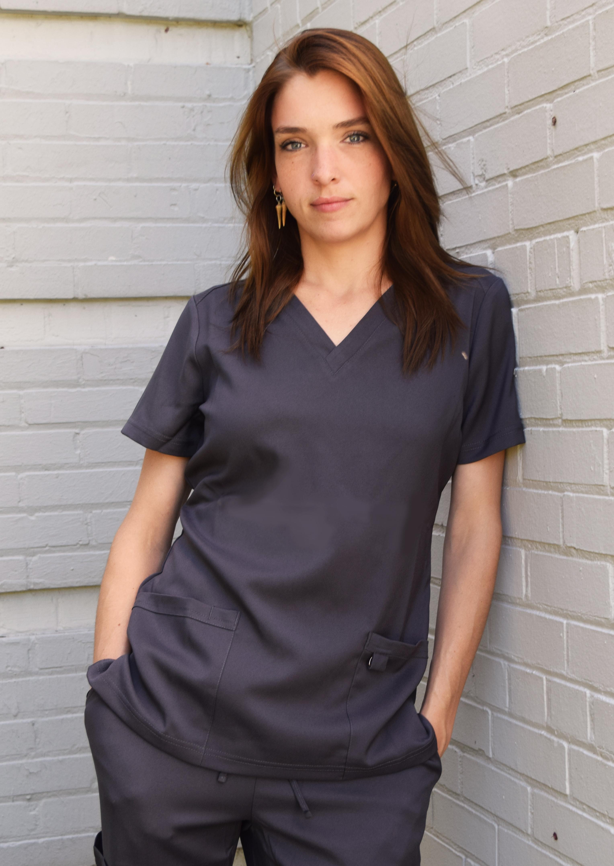 Soulful-Scrubs-Women-039-s-2336-2-Pocket-V-Neck-Scrub-Top miniature 19