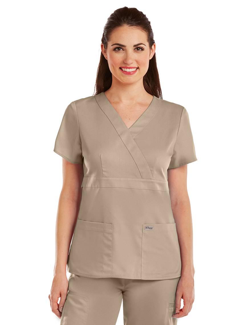 Greys Anatomy 4153 Women 230 Khaki 3 Pocket Mock Wrap Scrub Top Chz
