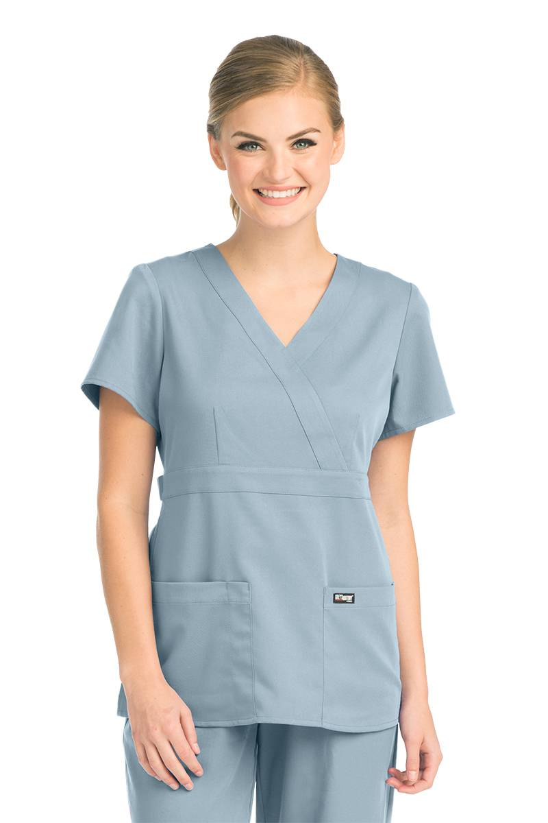 Grey\'s Anatomy Women\'s 4153 3 Pocket Mock Wrap Nurse Scrub Top- New ...