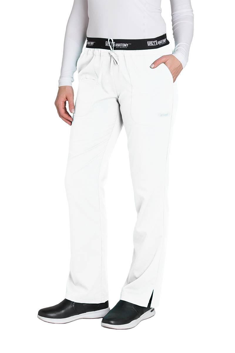 Grey\'s Anatomy Women\'s 4275 Drawstring Logo Waist Scrub Pant - White ...